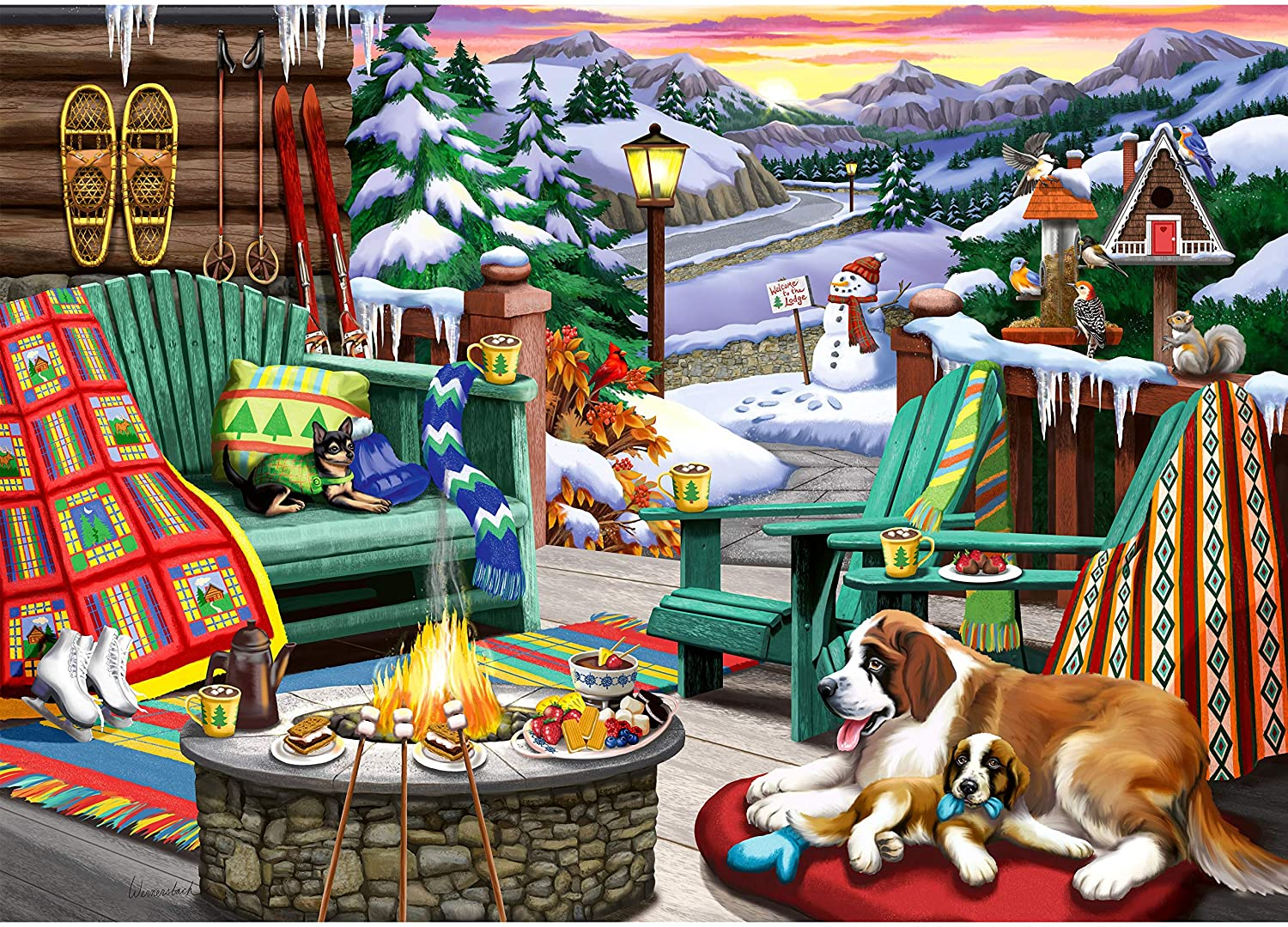 Ravensburger Cozy Series: Apres All Day 500 Piece Large Format Jigsaw Puzzle for Adults - Every Piece is Unique, Softclick Technology Means Pieces Fit Together Perfectly, (Model: 16442)