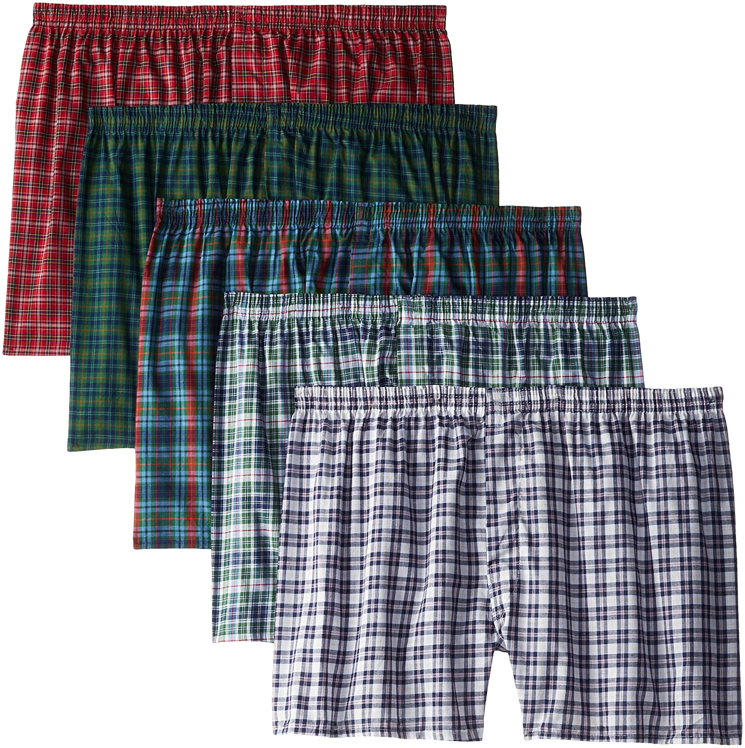 Fruit of the Loom Men's Big and Tall Size Tartan Boxers(Pack of 5) Assorted XX-Large(Pack of 5) 5P550