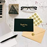 100 Elegant Thank You Cards with Gold Foil Embossed