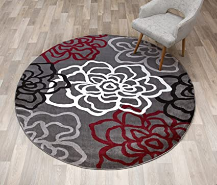 9af02435bc6 Image Unavailable. Image not available for. Color  Rugshop Contemporary  Modern Floral Flowers Round Area Rug 6  6 quot  Diameter Red Gray