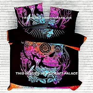 Handicraft-Palace Indian Mandala Reversible Reina Edredón Juego de Cama Hippie Manta de Calavera/Doona/Manta/Edredón Cover Set Doble/Cama Queen Size Algodón