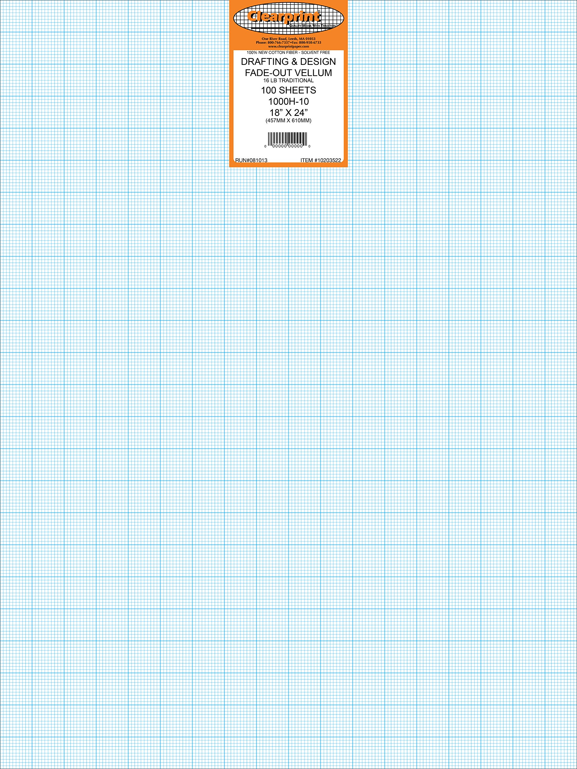 Clearprint 1000H Design Vellum Sheets with Printed Fade-Out 10x10 Grid, 100% Cotton, 18 x 24 Inches, 100 Sheets Per Pack, Translucent White (10203522) by Clearprint