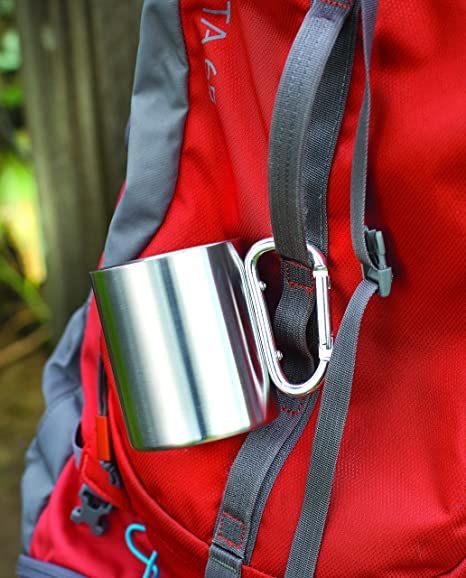 Amazon.com   Ideas In Life Stainless Steel Carabiner Mug - 8 Oz. Portable  Travel Water Coffee Cup with D-Ring Carabiner Hook as Handle for Outdoor  Camping ... 235dcf24dd048
