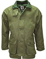 Mens Dark Green Tweed Waterproof Breathable Country wear Jacket Kids Coat by WWK / WorkWear King