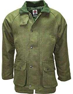 174475a32139d Mens Dark Green Tweed Waterproof Breathable Country wear Jacket Kids Coat  by WWK / WorkWear King