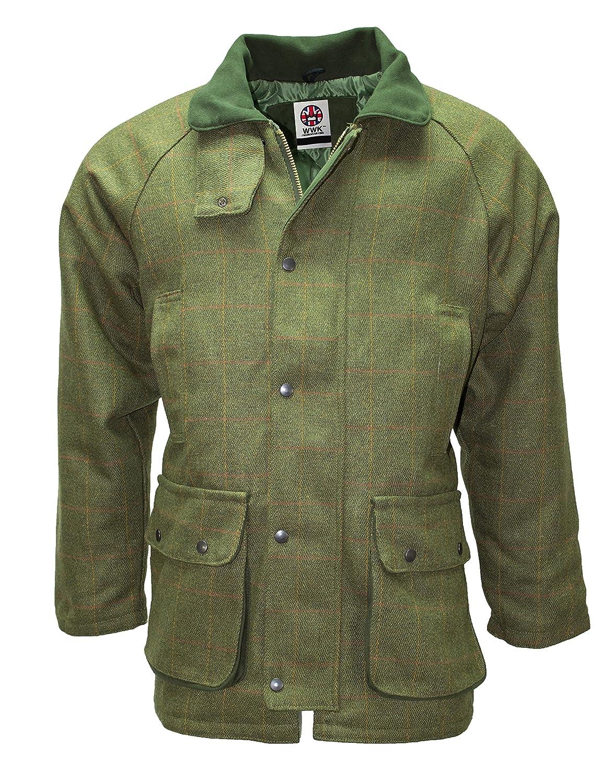 Mens Dark Green Tweed Waterproof Breathable Country Wear Jacket Kids
