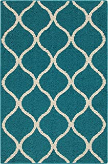 product image for Maples Rugs Rebecca Contemporary Kitchen Rugs Non Skid Accent Area Carpet [Made in USA], 2'6 x 3'10, Teal/Sand