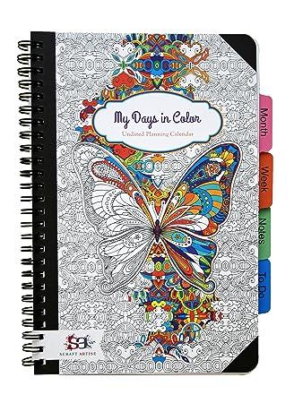 Agenda de colorear para adultos sin fecha, 15,3 x 22,9 cm (6 ...