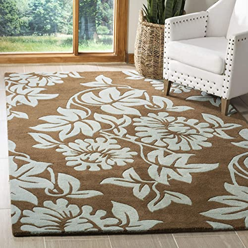 Safavieh Soho Collection SOH770B Handmade Light Brown and Blue Premium Wool Area Rug 7'6″ x 9'6″
