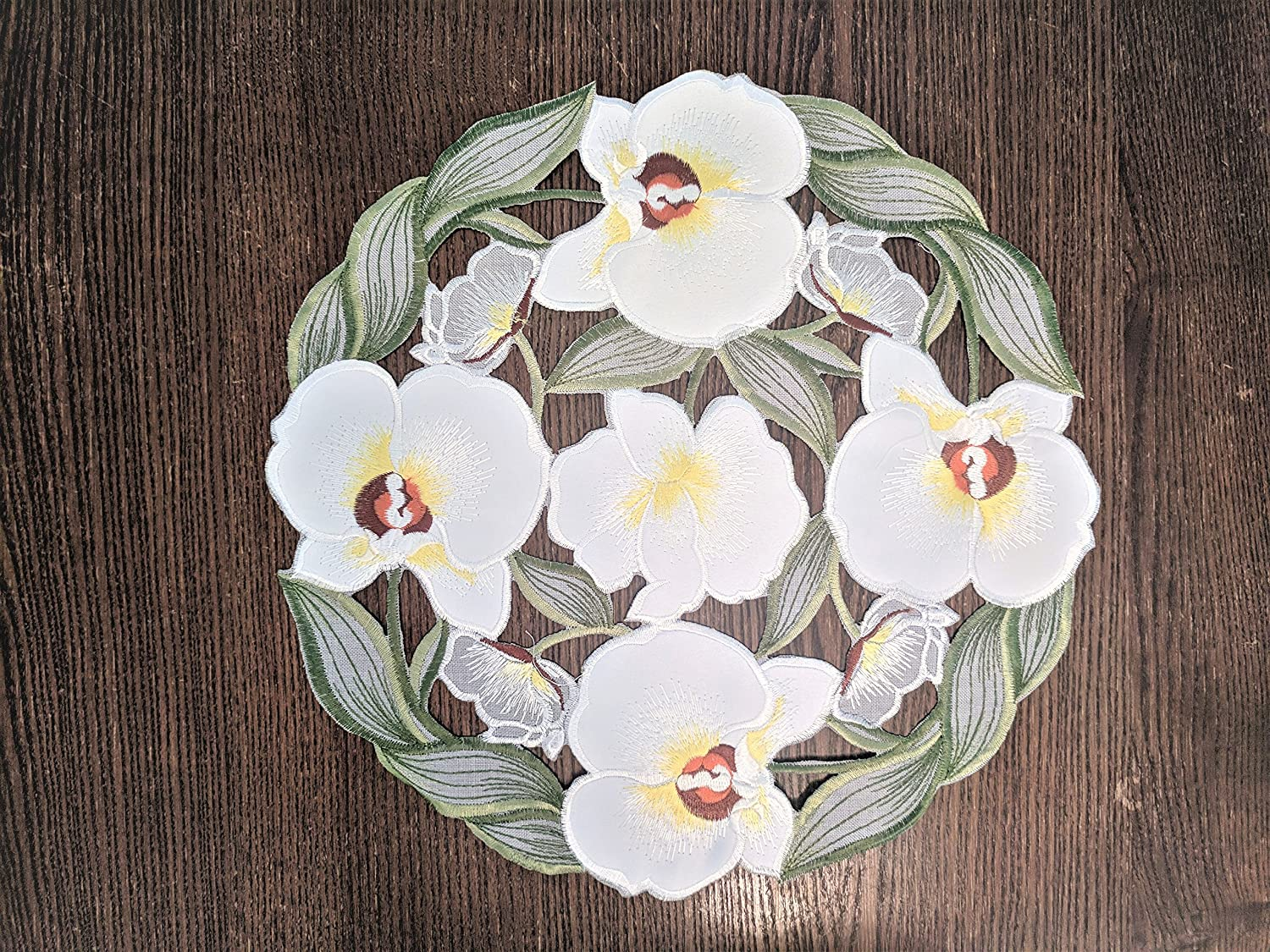 Doily Boutique Easter Place Mat or Doily Round with White Orchids and Green Gray Leaves Size 15 inches