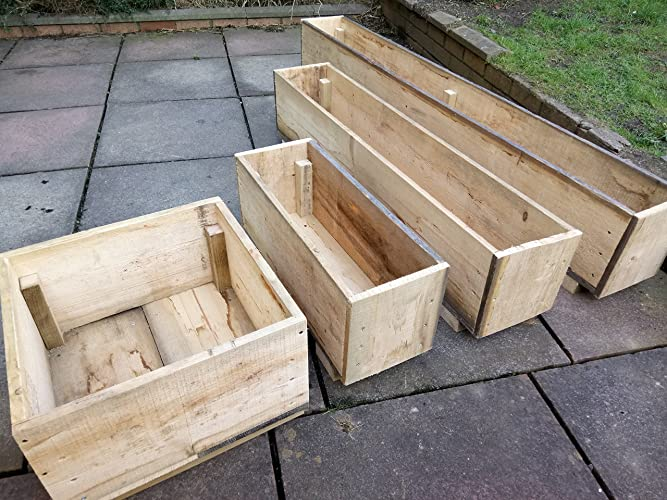 Wooden Garden Planters Wide Deep Strong Planting Boxes Rustic
