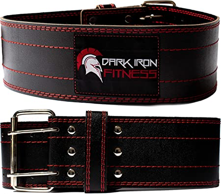 Dark Iron Fitness Weight Lifting Belt for Men & Women - 100% Leather Belts, Adjustable Back Support & Stability for Gym, Weightlifting, Strength Training, Squat or Deadlift up to 600 lbs