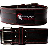 Dark Iron Fitness Genuine Leather Pro Weight Lifting Belt for Men and Women - Durable Comfortable and Adjustable with…