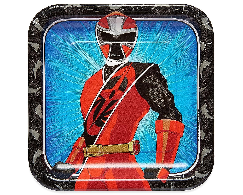American Greetings 5753830 Power Rangers Ninja Steel 8 Count Dinner Square Plate, Black, 9
