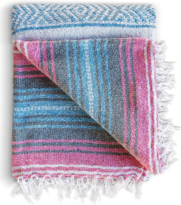FALSA Mexican Blanket Hand Woven RASTA Serape Throw Yoga Mat grey//white//black