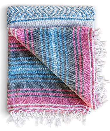 Benevolence LA Mexican Blanket Authentic Falsa -Thick Soft Woven Acrylic Yoga Serape or as Beach Throw, Picnic, Camping, Travel, Hiking, Adventure, ...