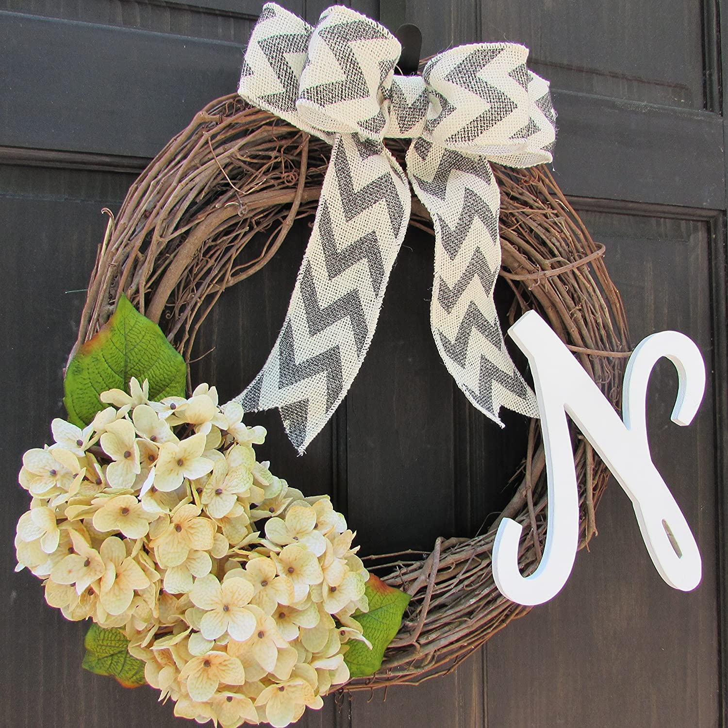 Amazon.com: Custom Year Round Monogram Wreath; All Season Front Door Hanger  With Initial; Cream Hydrangea Grapevine Decor With Letter Choice: Handmade