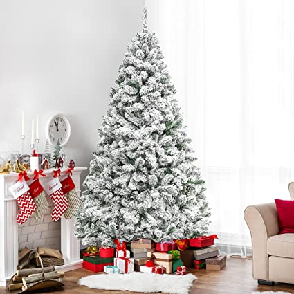 c4f83e6bab1 Amazon.com  Best Choice Products 6ft Premium Snow Flocked Hinged Artificial  Christmas Pine Tree Holiday Decor w Metal Stand  Home   Kitchen