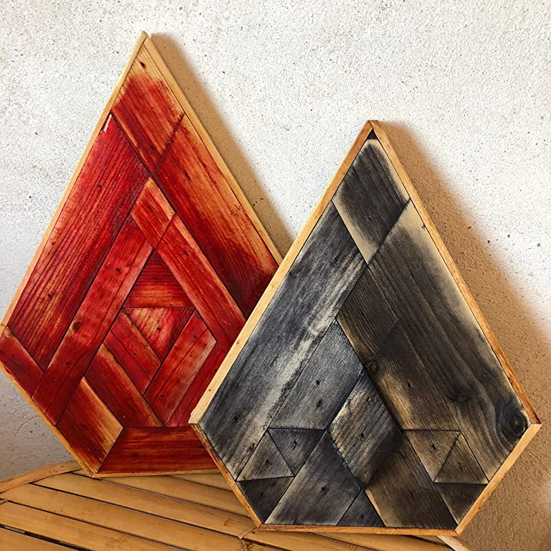 Duo pack de cuadros geometricos decorativos - wood art: Amazon.es: Handmade