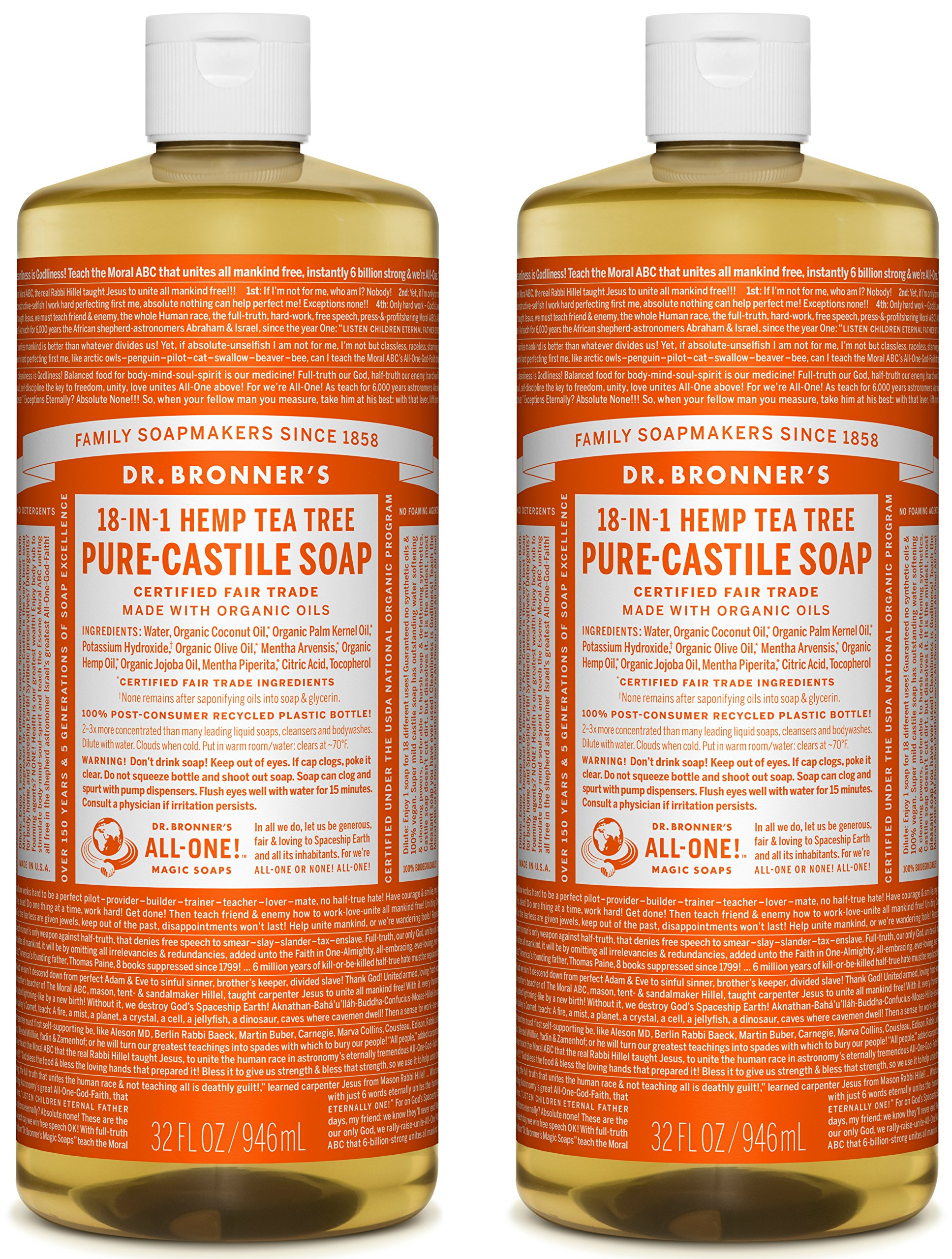 Dr. Bronner's Organic Pure Castile Liquid Soap, Tea Tree Oil, 32 oz, 2 pk