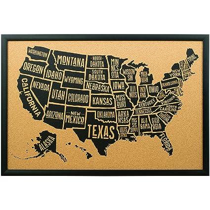 Amazoncom Craig Frames Wayfarer Cork Board Typographic United - United states map picture frame