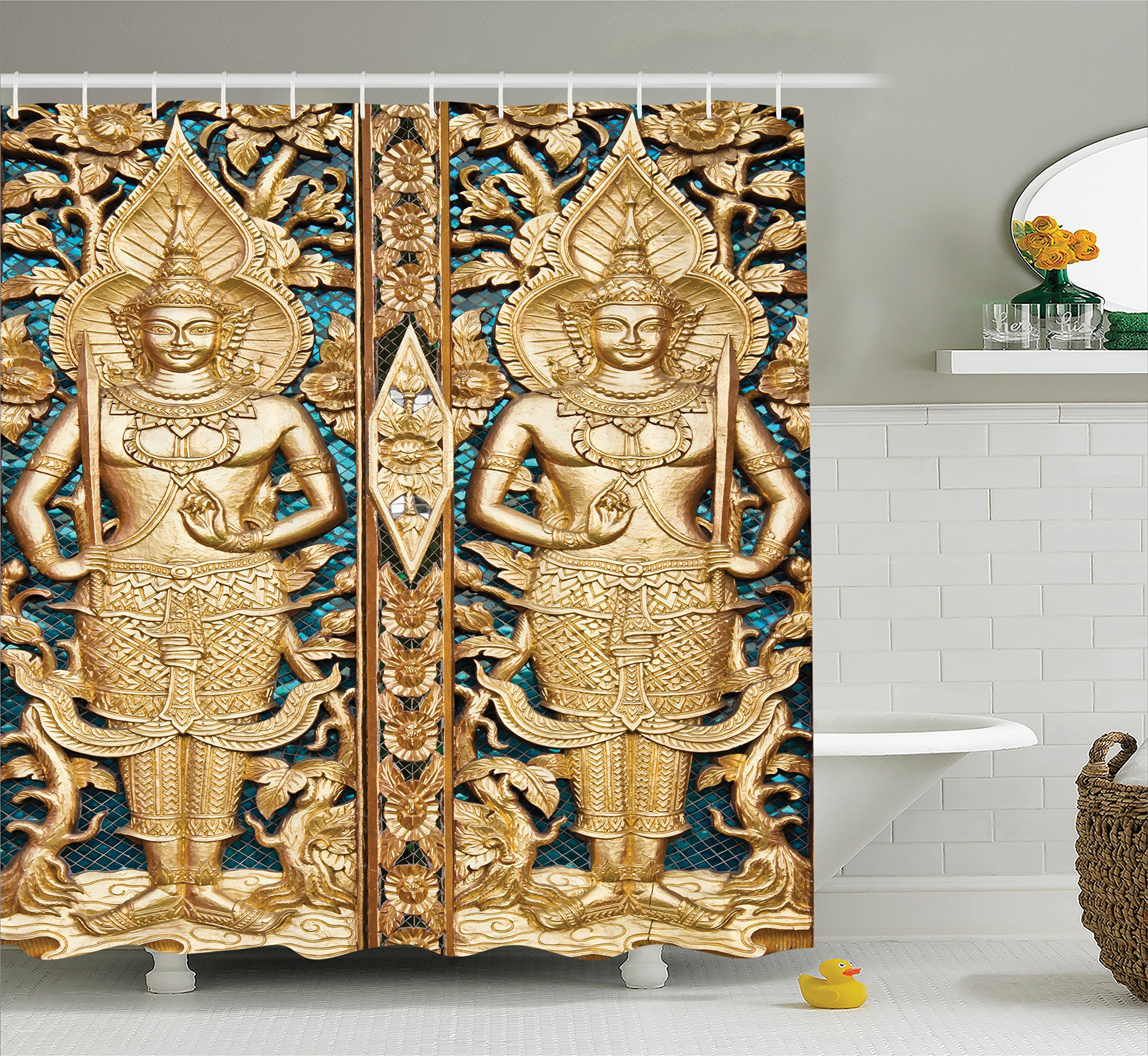 Ambesonne Rustic Decor Collection, Thai Gate at Wat Sirisa Tong Thailand Buddhism Architecture History Spiritual Picture, Polyester Fabric Bathroom Shower Curtain Set with Hooks, Golden Teal