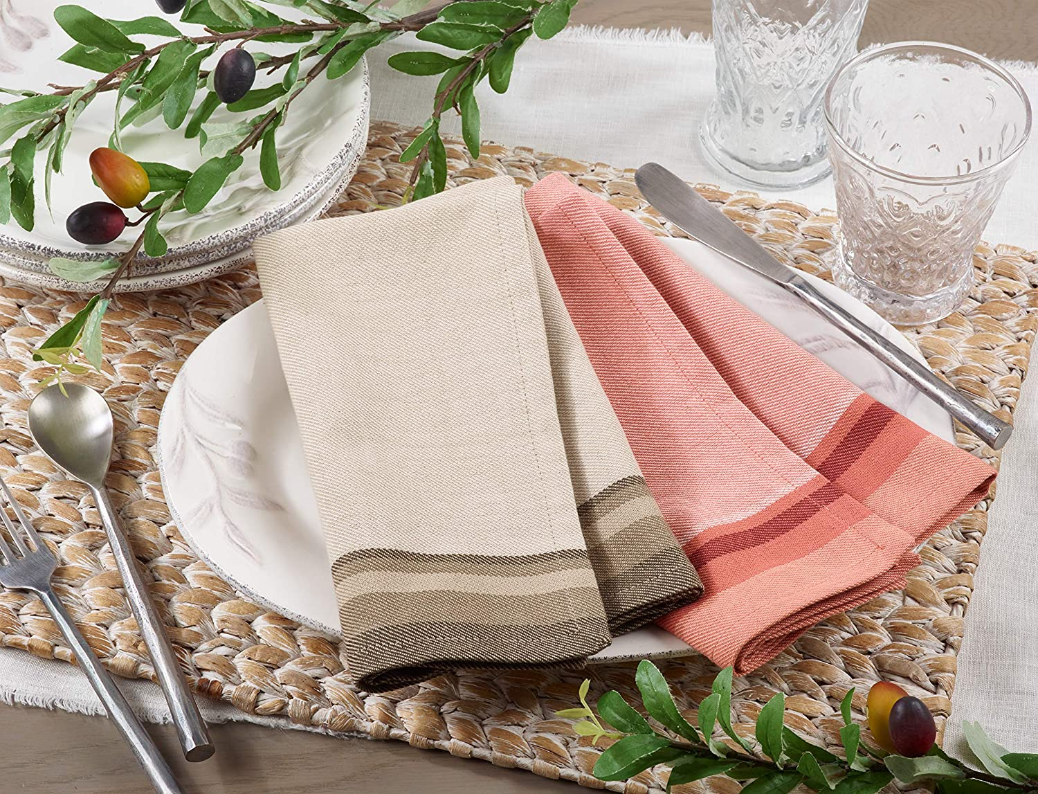 SARO LIFESTYLE 8211.N70S Clodia Collection Block Print Tablecloth With Striped Borders 70 Natural