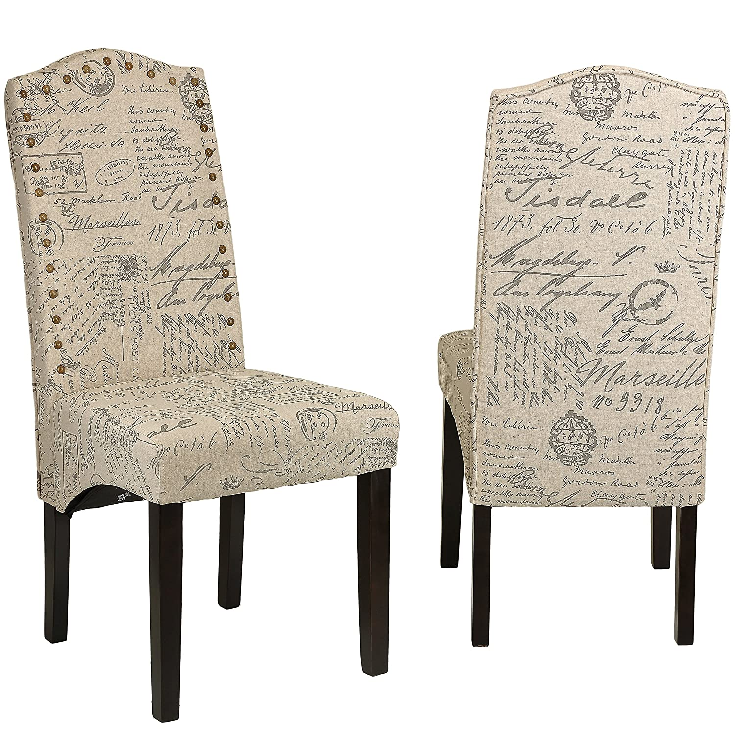 Amazon.com   Cortesi Home Miller Dining Chair In Beige Script Fabric (Set  Of 2), Beige   Chairs