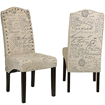 Amazoncom Cortesi Home Miller Dining Chair in Beige Script