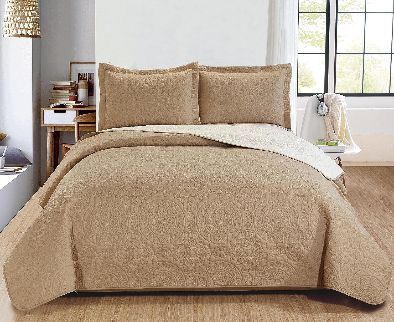 Apple Green//Aqua King RT Designers Collection Quilt Set Lexington 3-Piece Reversible