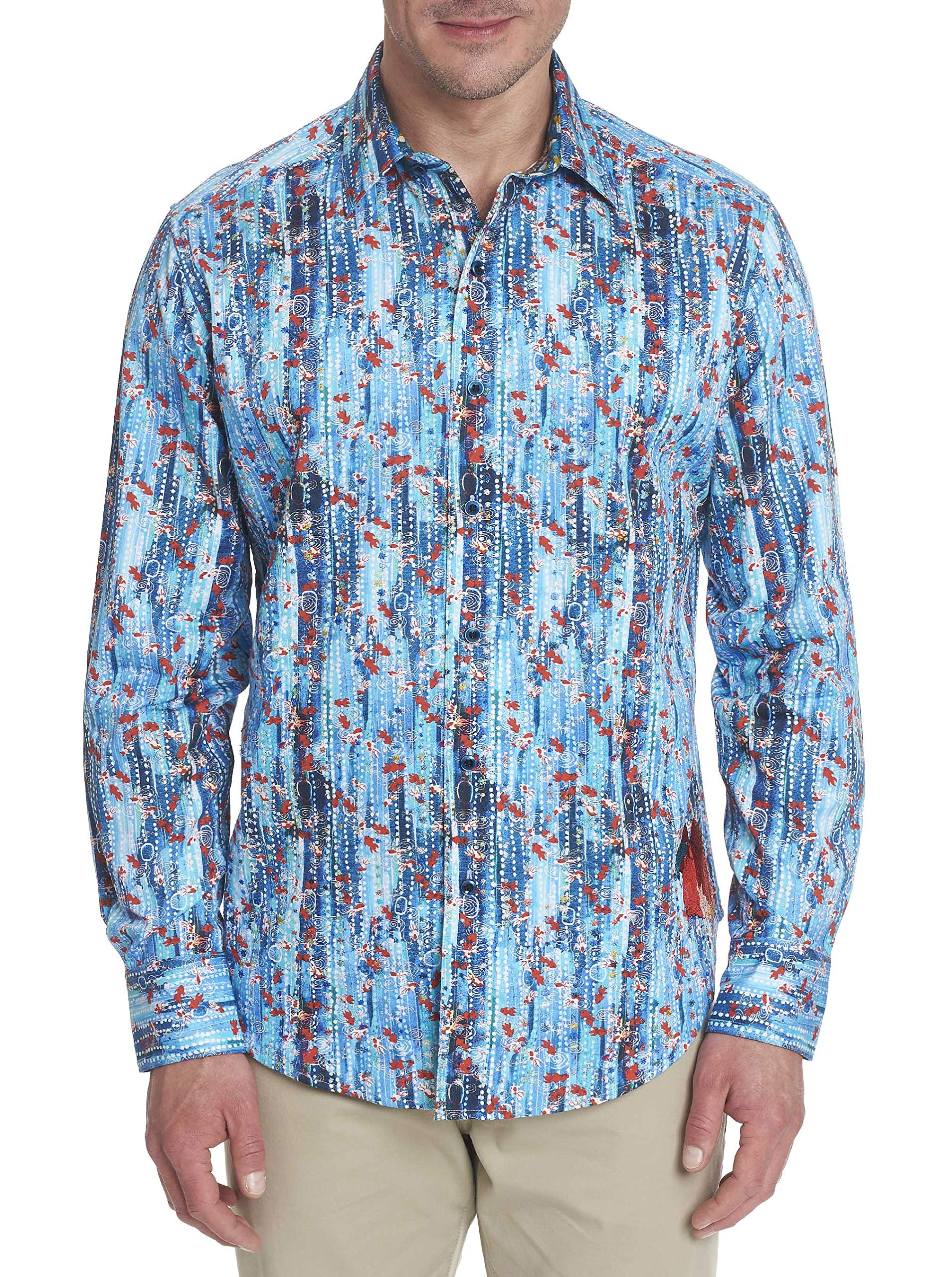 Robert Graham Aquarium L/S Shirt Classic Fit Teal Small by Robert Graham Designs