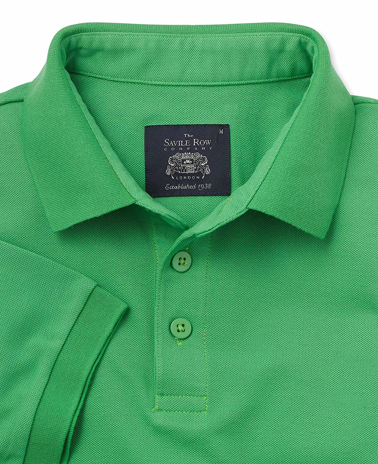 Savile Row Mens Green Cotton Pique Polo Shirt
