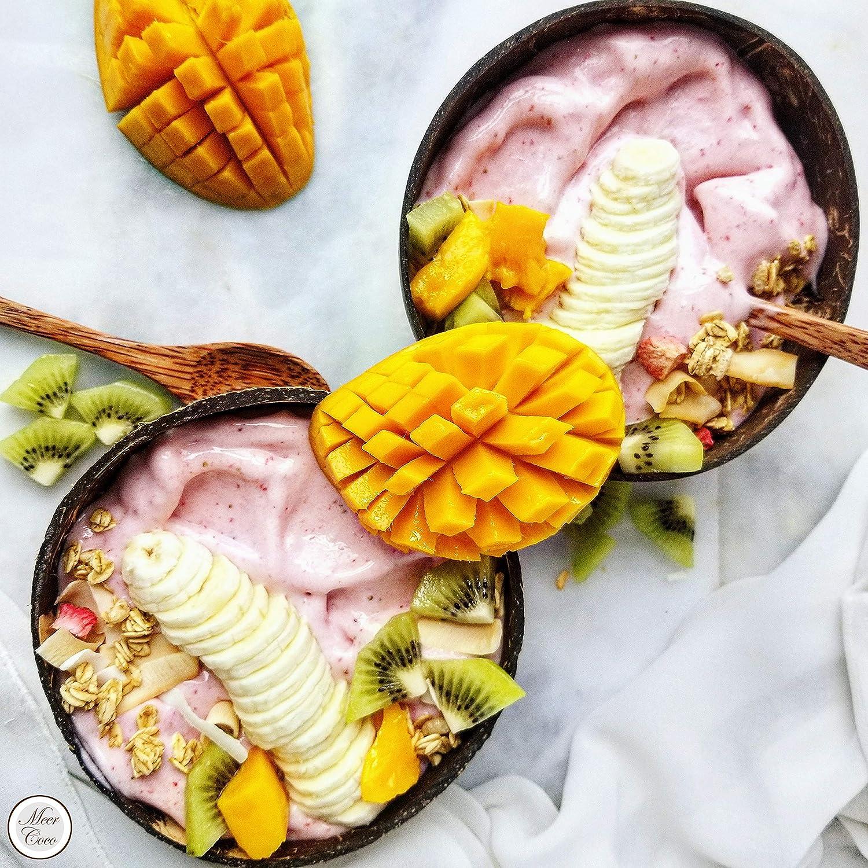 Snack e Ciotola Decorativa. Mare Coco Ciotola in Cocco Set Regalo 2 Grandi Ciotole XL con Cucchiaio in Legno Naturale e sottobicchiere Ideale per Buddha o Colazione Bowl