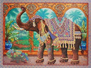 Indian Elephant Bead Embroidery Kits Animal Needlepoint Handcraft kit Beaded Painting Cross Stich 3D DIY Embroidery Beading Wall Decor Perle