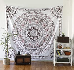 Sketched Floral Medallion Tapestry - Mandala Wall Hanging - Hippie Bohemian Wall Decor Art - Boho Queen Size Indian Cotton Bedspread By Labhanshi