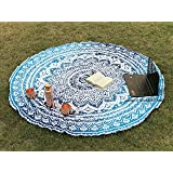Raajsee Round Beach Towel Boho Throw Hippie Tapestry Cotton Table Cloth Meditation Yoga Mat Rugs by (Blue Ombre)
