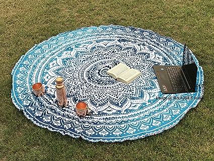 Tela redonda de mandala estilo hippie diseño indio bohemio, ideal como colcha,