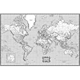 Amazon black and white world map unique design poster print coolowlmaps world wall map classic black white design poster size 36wx24 gumiabroncs Gallery