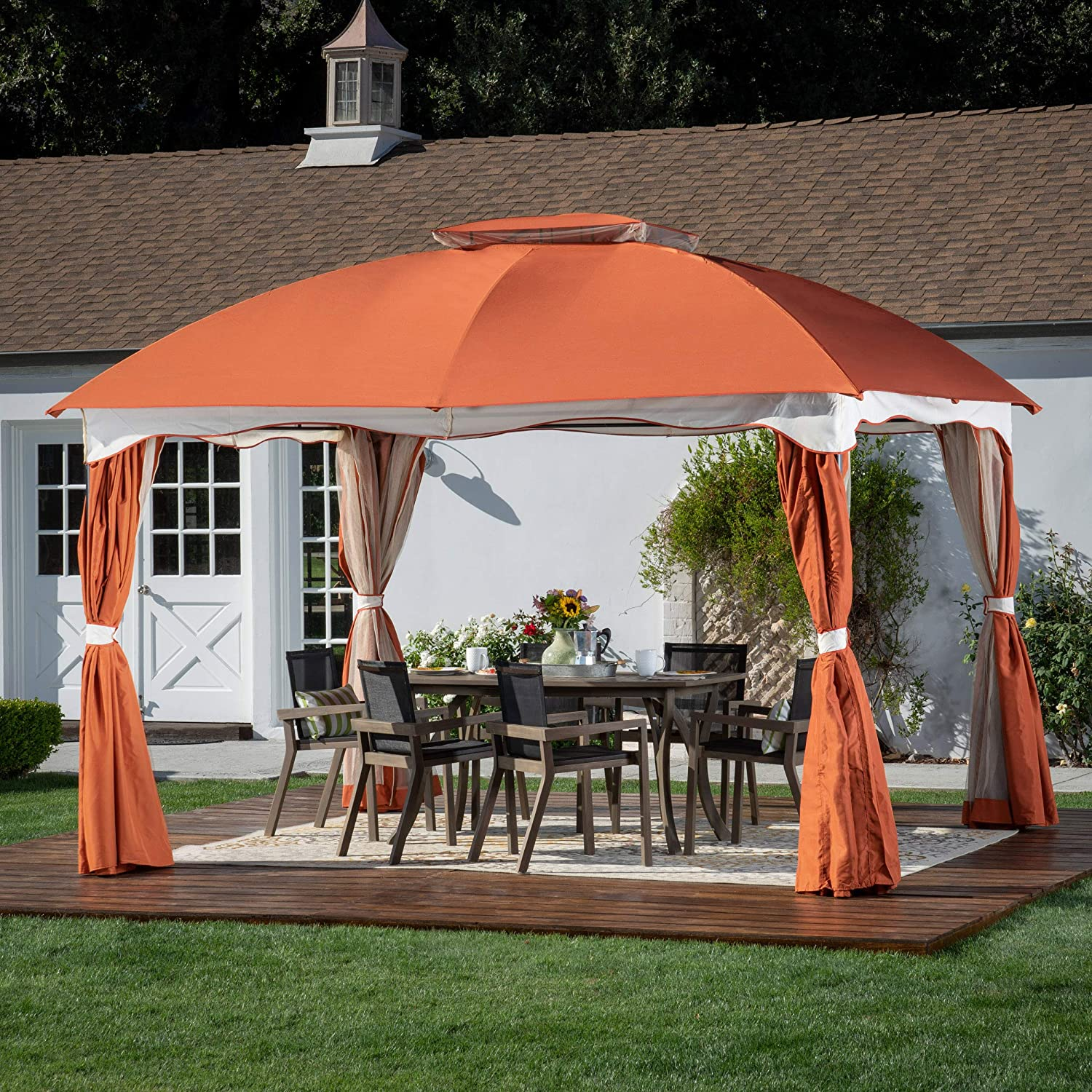 Great Deal Furniture Ava Outdoor 12 by 10 Water Resistant Fabric and Steel Gazebo, Canvas Rust Orange