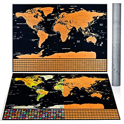 Amazoncom Nicexx Scratch Off World Map Poster Us States Country - Us-cloud-map