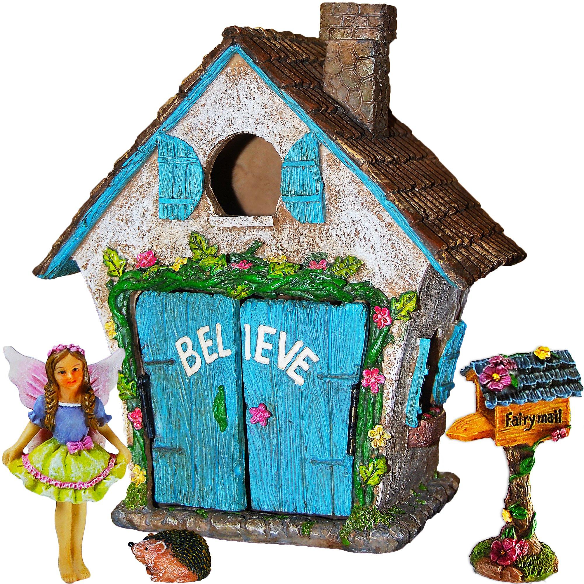 Mood Lab Fairy Garden House Miniature Believe Set of 4 pcs, Hand Painted Figurines & Accessories, Kit Outdoor Indoor Decor