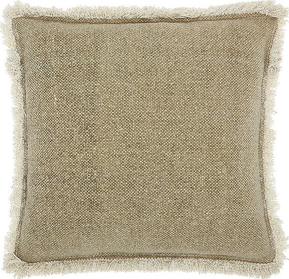 Beautyrest Laurel Fringe Decorative Pillow 16x16 Straw