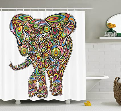Ambesonne Psychedelic Shower Curtain Large Eastern Elephant Figure Trippy Pattern Boho Art Savannah Illustration
