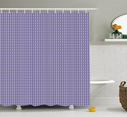 Lunarable Purple Grey Shower Curtain Circles In Ornamental Square Shaped Frames Geometric Composition Cloth