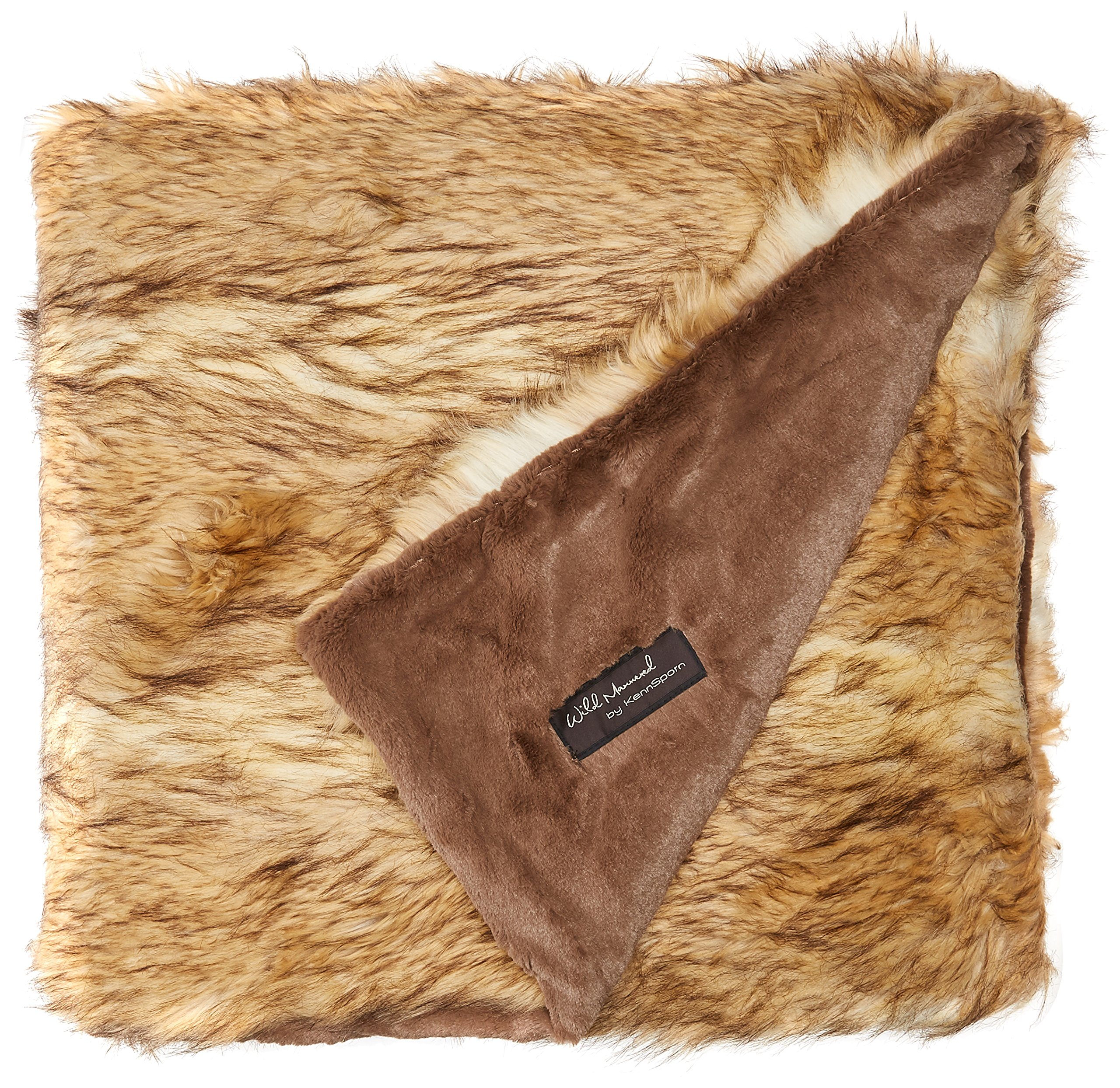 Best Home Fashion Faux Fur Throw - Lounge Blanket - Platinum Frost Fox - 58''W x 60''L - (1 Throw) by Best Home Fashion