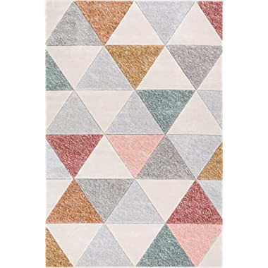 Well Woven Suave Angles Dusty Pink Red Copper Blue Grey Modern Geometric Hand Carved 5x7 (5'3  x 7'3 ) Area Rug Easy to Clean Stain & Fade Resistant Thick Soft Plush