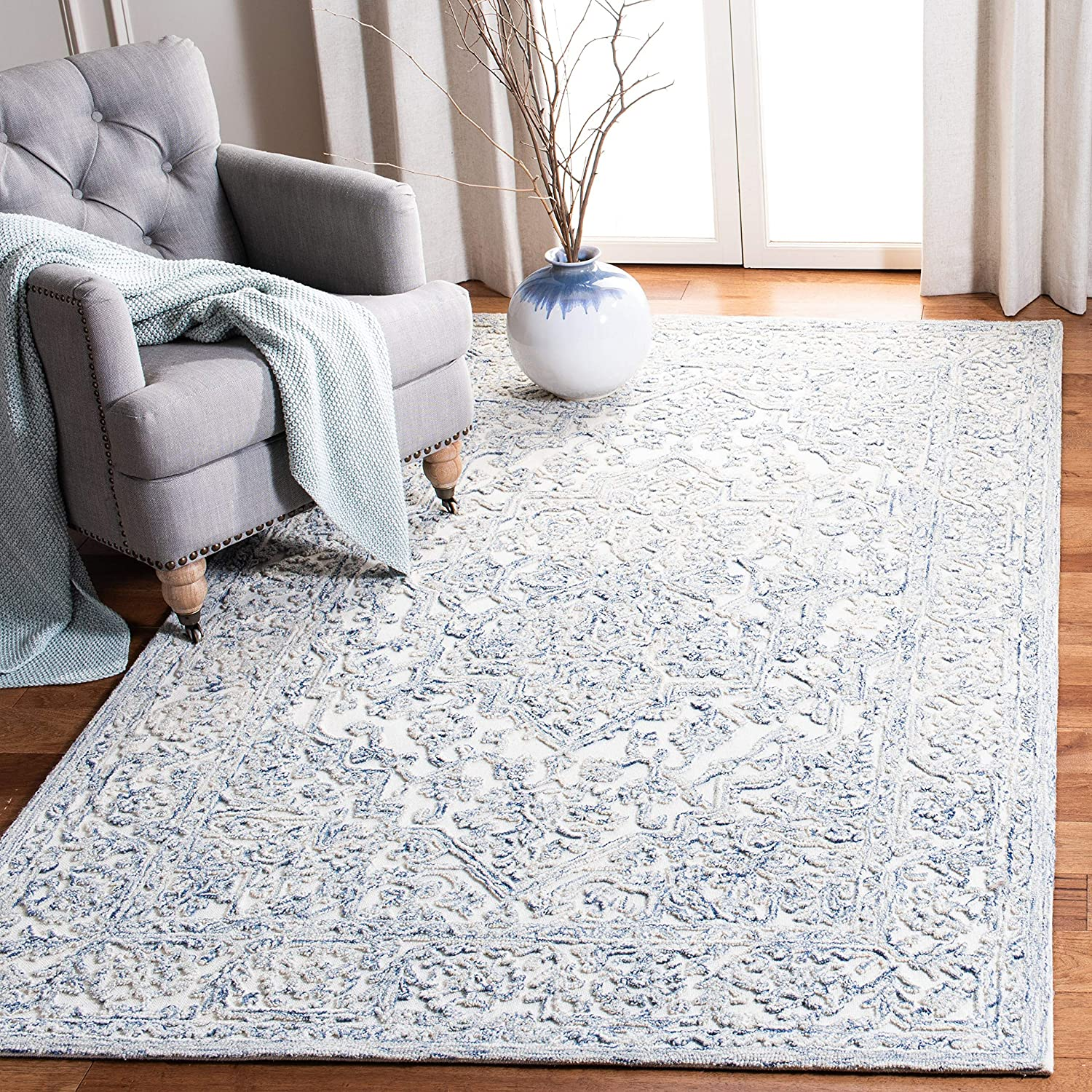 Amazon Com Safavieh Trace Collection Trc302m Handmade Premium Wool Area Rug 5 X 8 Ivory Blue Furniture Decor