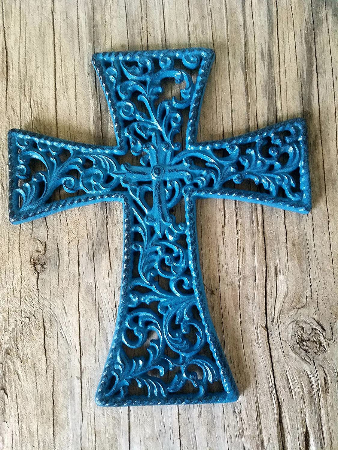 DECORATIVE BLUE AND BLACK CAST IRON WALL CROSS HANGING – RELIGIOUS INSPIRATIONAL – HOUSEWARMING GIFT