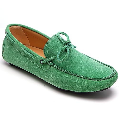 zanetti - Mocasines de Piel para hombre Verde verde Verde Size: 44: Amazon.es: Zapatos y complementos