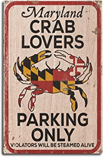 product image for Maryland - Crab Lovers Parking Only (10x15 Wood Wall Sign, Wall Decor Ready to Hang)